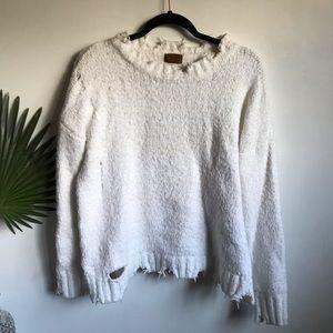 Pol White Distressed Eyelash Sweater